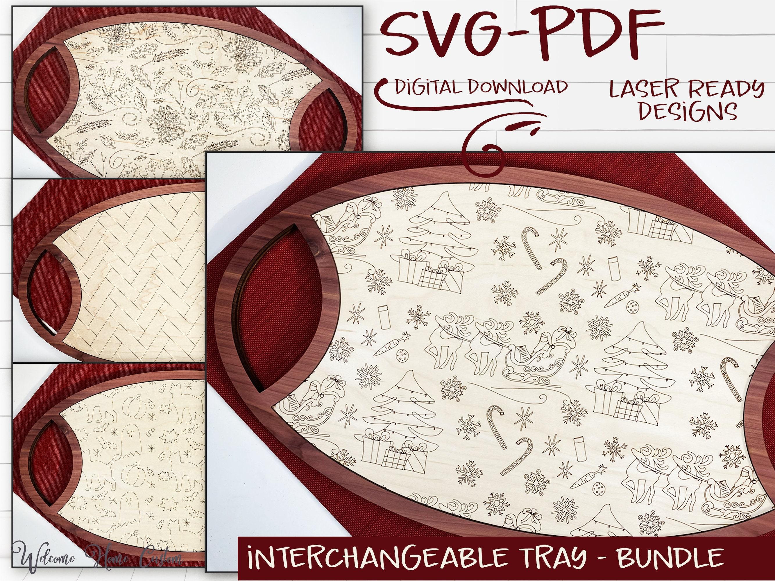 Plateau interchangeable SVG Laser coupé fichiers - modèles pour le 4ème trimestre - Noël Père Noël, chevrons, récolte d'automne, Halloween, SVG PDF numérique