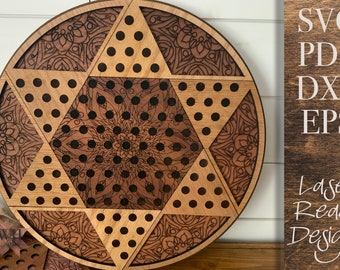 Chinese Checkers game laser cut files - Family Game Night - Digital Download - SVG PDF DXF