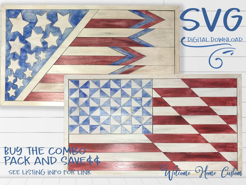 Great Farmhouse Decor SVG American Flag Laser Cut file for Glowforge and other laser cutters