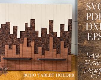 Ombre Boho Tablet Holder Laser Cut File - iPad holder - Digital Download SVG PDF DXF - Home Organization Decor - Teen Gift - Teacher Gift