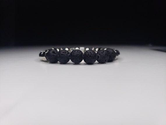 Bracelet black volcanic rock and silver metal bead Ref BN-380