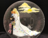 Peggy Karr Fused Art Glass Bride and Groom Wedding Plate