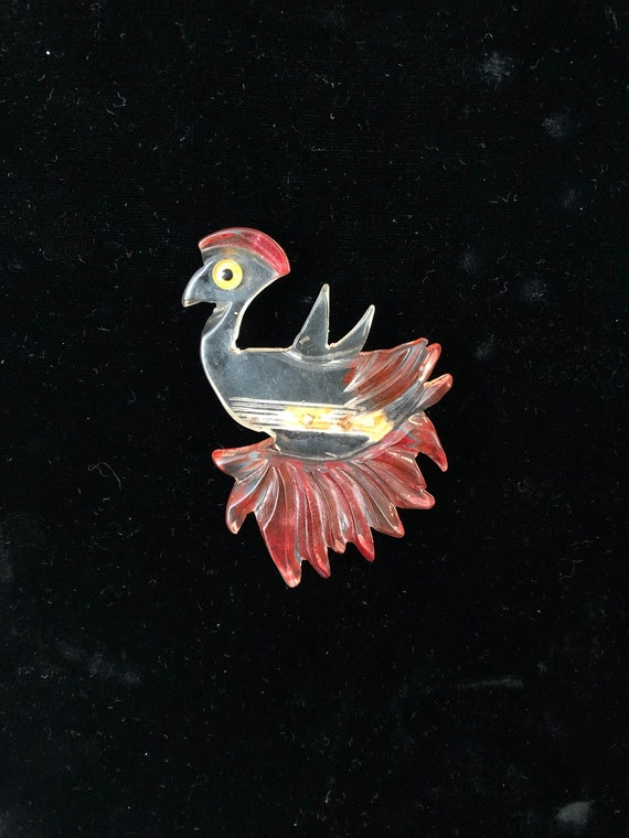 Carved Lucite Bird Pin Brooch with Fabulous Red Fe
