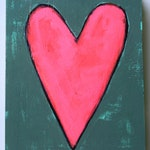 little bright pink heart original a2n2koon painting on reclaimed wood wall artwork valentine's day for teens girls kids nursery wall art