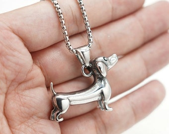 Dachshund Dog Pet Animal Pendant Necklace for Men Women Boys in Stainless Steel