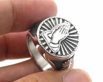 Mens Stainless Steel Sacred Heart Praying Hands Ring