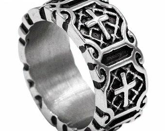 Christian Cross Band Ring For Men Genuine Stainless Steel