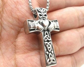 Heart Irish Celtic Trinity Knot Claddagh Cross Pendant Necklace for Men Women Genuine Stainless Steel