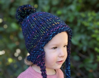 Baby/Toddler/Child Knit Hat with Ear Flaps and Pom-Poms