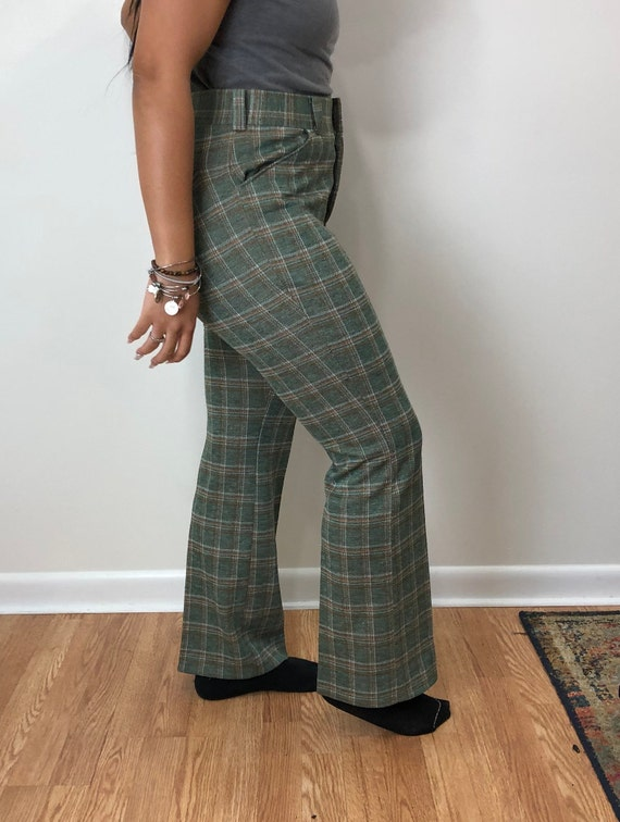 Vintage 1970s MW Green Plaid Wide Leg Pants 33 x … - image 4