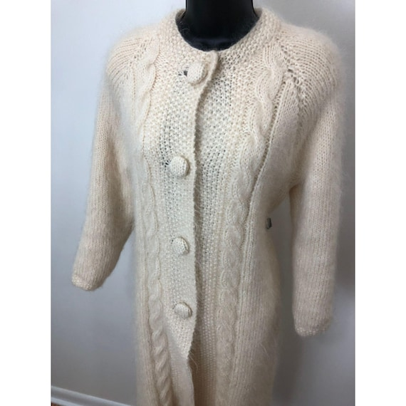 Duster Coat – Cream Mohair Cable Knit Detail