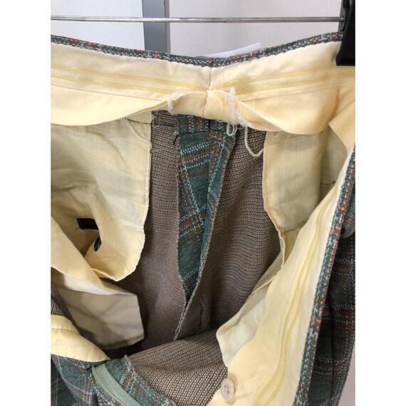 Vintage 1970s MW Green Plaid Wide Leg Pants 33 x … - image 7