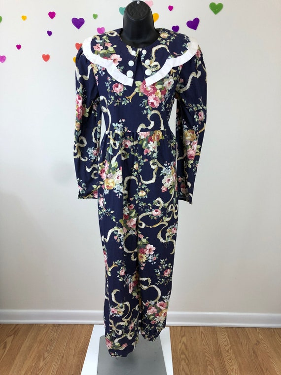 1980s You Too Babes Floral Jump Suit
