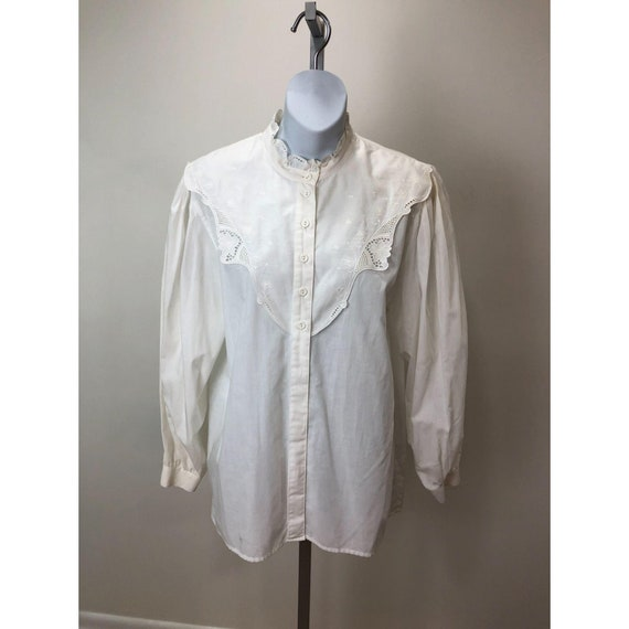 Vintage 1980s Geiger Austria White Cotton Top Blou
