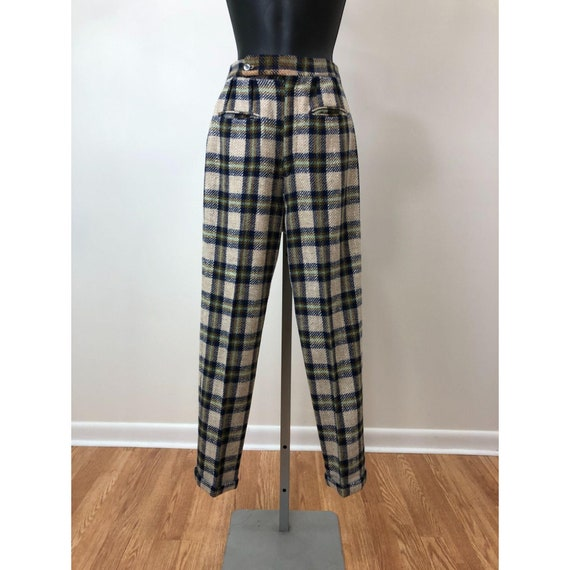 Vintage 1950s  Mister Pants Plaid Wool Pants