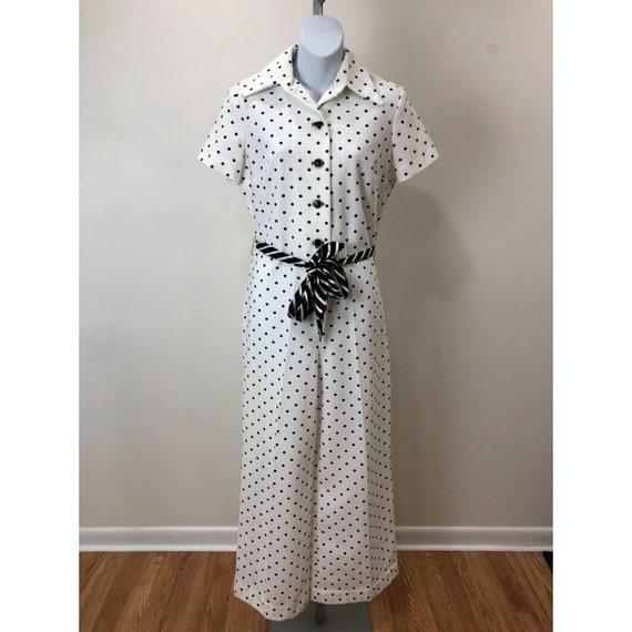 Vintage 1970s Nancy Greer New York White Black Po… - image 1