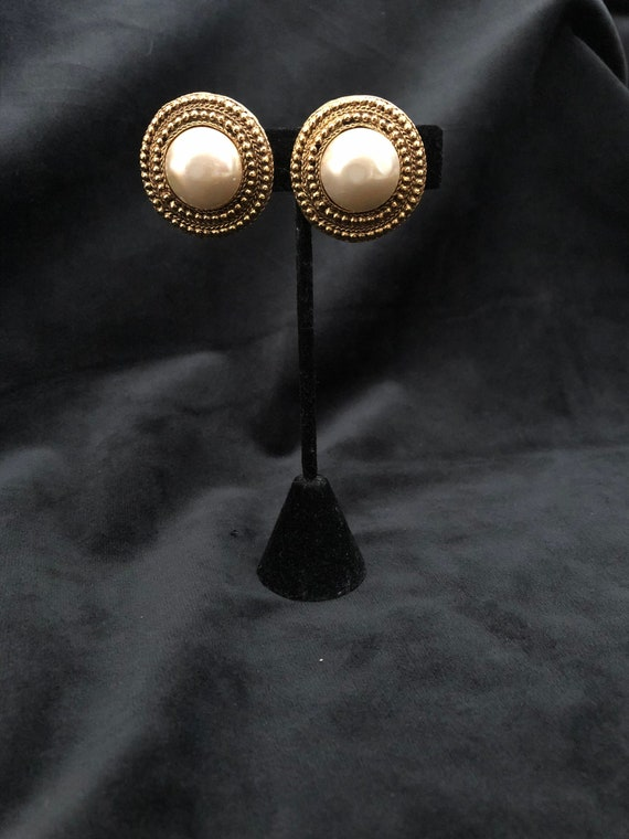 Chanel Gold Vintage Button Earrings with Faux Pear