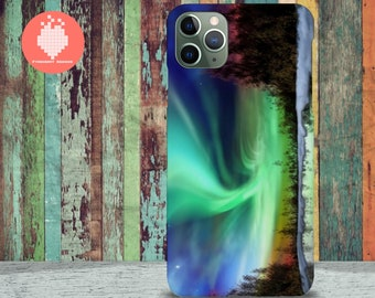 Northern lights over lake in Finland iPhone 11 case