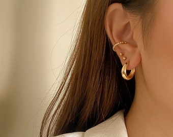 STELLA   Bold Gold Filled Hoops, Classic Gold Hoop Earrings, Chunky Hoops, 18K Gold-Filled Hoops, Everyday Hoops, Gift for Her