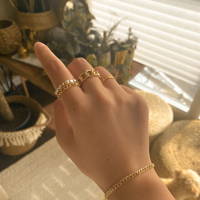 18K Gold Filled Chain Ring Chunky Chain Ring ATHENA Thick Band Ring Gold Stacking Ring Cuban Chain Ring
