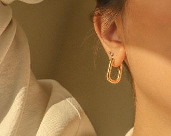 ESMÉE   Bold Rectangle Gold Filled Hoops, Classic Gold Hoop Earrings, Chunky Hoops, 18K Gold-Filled Hoops, Everyday Hoops, Gift for Her