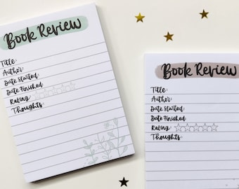 A6 Book Review Notepad - 50 Pages (Book Journal, Reading Journal, Book Tracker, Bullet Journal)