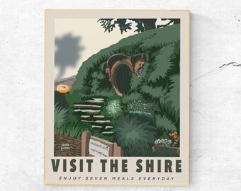 Digital Download Lord of the Rings Visit the Shire Vintage Travel Poster