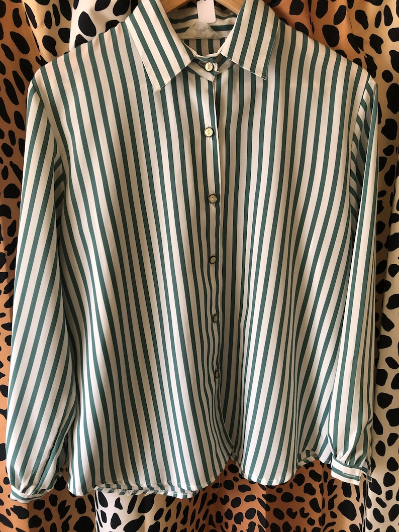 Green and white striped button down blouse with sparkly buttons