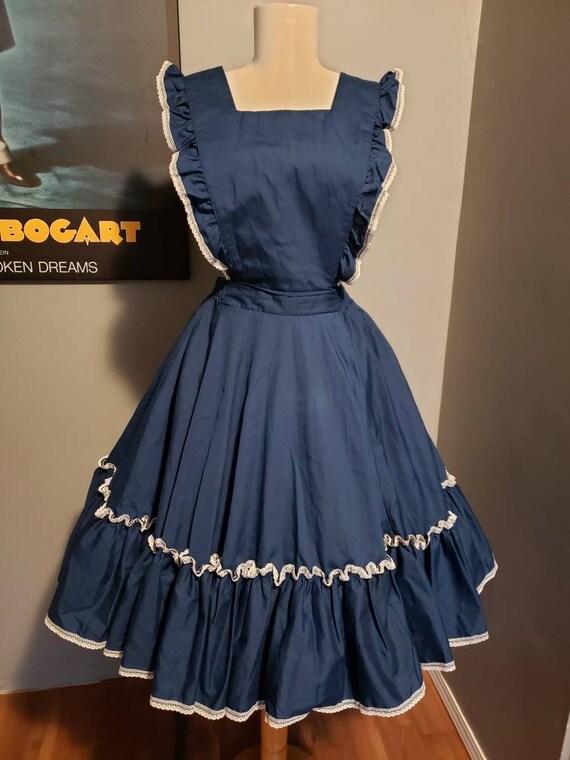 Vintage pinafore dress circle skirt square dance … - image 1