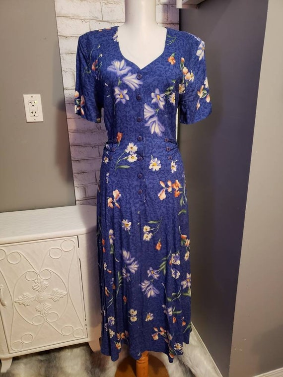 New Horizons Rayon 1980s blue floral day dress