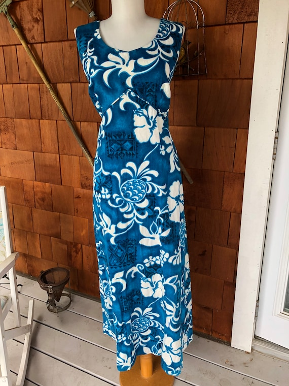 Royal Hawaiian 1960s barkcloth cotton tiki maxi dr