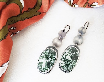 Snow In The Forest Green Earring - Oxidzed Sterling Silver Disc Drop and Beaded Motif w/ Speckled Diopside