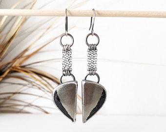 Heavy Metal Earrings - Oxidized Sterling Silver Chain w/ Large Apache Pyrite
