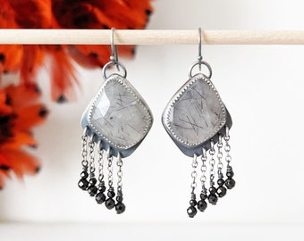 Splintered Realization Earrings - Oxidized Sterling Silver Chain Fringe w/ Milky Rutile Quartz and Black Spinel Beads