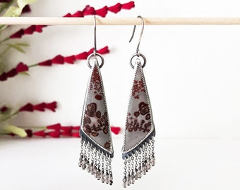 Red Poppies On A Grey Day Earrings - Oxidized Sterling and Chain Fringe w/ Coffee Bean Jasper and Smoky Quartz Beads