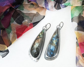 Stormy Rainbows Earrings - Oxidized and Textured Sterling Silver w/ Rose Cut Labradorite Drops