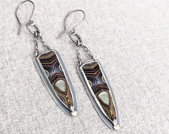 Horsepower Rainbows Earrings -  Oxidized Sterling Silver Chain and Hoop Drop And Brass Element w/ Fordite (Recycled Corvette Paint)
