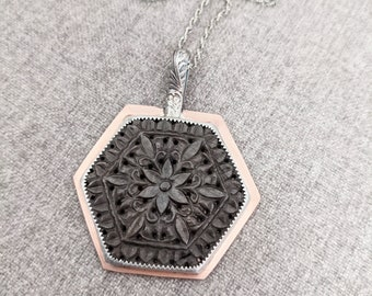 Shimmer In The Light Pendant - Large Satin Finished Copper and Sterling Silver Hexagon w/ Grey Sheen Floral Carved Sapphire