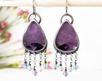 Sweet Tart Peek-a-Boo Earrings - Oxidized Sterling Silver Chain Fringe w/ Star Amethyst and Rainbow Fluorite Beads