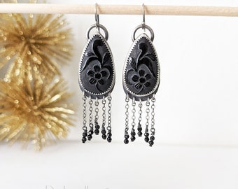 The End Of Summer Earrings - Oxidized Sterling Silver and Chain Fringe w/ Carved Black Onyx Flowers and Black Spinel Beads