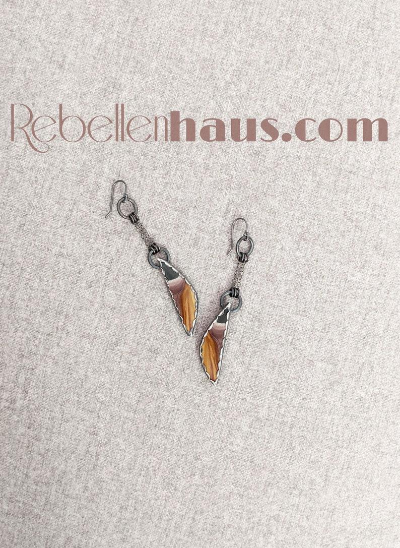 Ga Ga Gorgeous Earrings Oxidized Sterling Silver Chain Drops w Sonora Jasper Drops