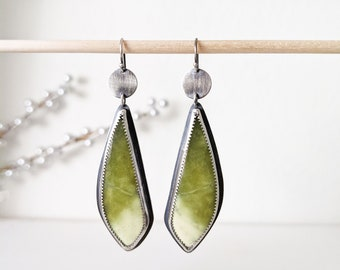 Limelight Earrings - Oxidized Sterling Silver w/ Olive Jade