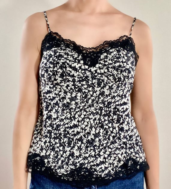 Black & White Dress 100% Silk Lined Laced Camisole