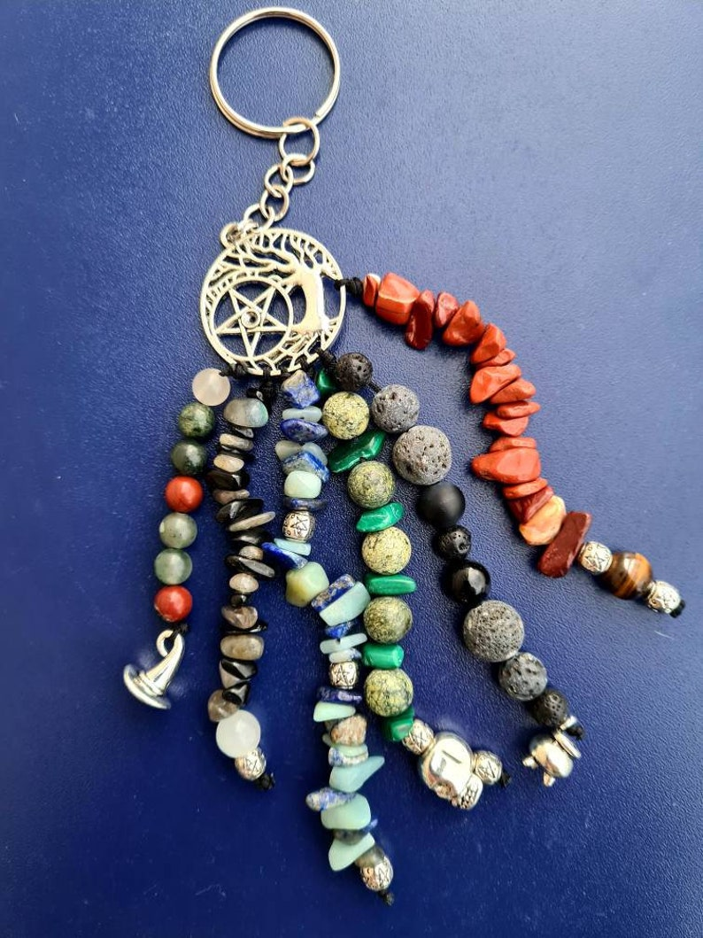 12 Stones Witchy key chain with witch hat tree of life scull cauldron charms and healing stones and its powerful energies pentagram
