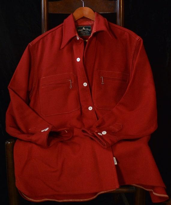 Red Vintage 1940s Shirt Jacket