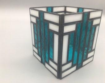 Art Deco Candle Holder - Aqua