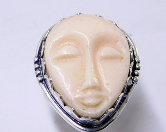Carved Face Ring Etsy
