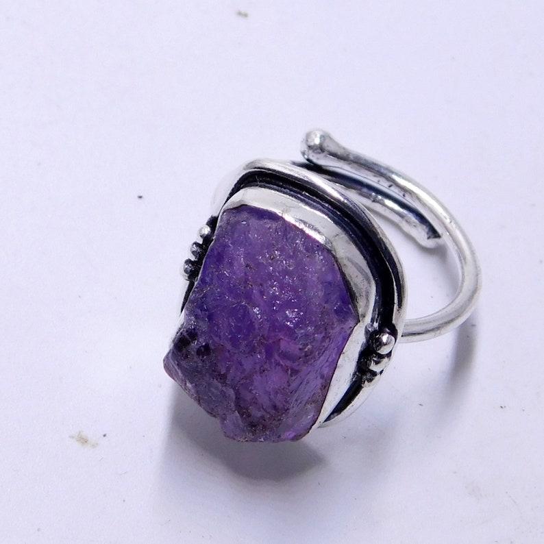 Raw Amethyst Ring  Peruvian Rings Handmade Alpaca Silver Ring for Women  Rough Natural Gem Gemstone Ring  Boho Purple Crystal Raw Stone