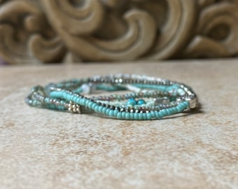 Pale aqua blue pale blue banded agate leather triple wrap bracelet aqua blue