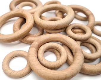 Beech Wooden Rings Round Natural Unfinished Circle Macrame ring well polished teething ring 40/55/70mm wood craft supplies
